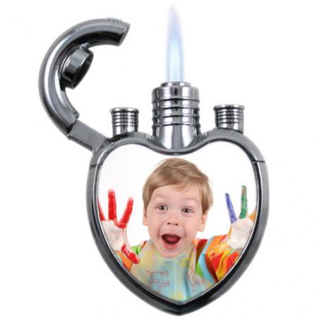 Briquet chalumeau personnalisé photo coeur