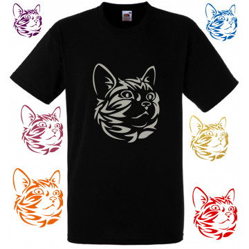 Tee shirt tribal noir chat,...