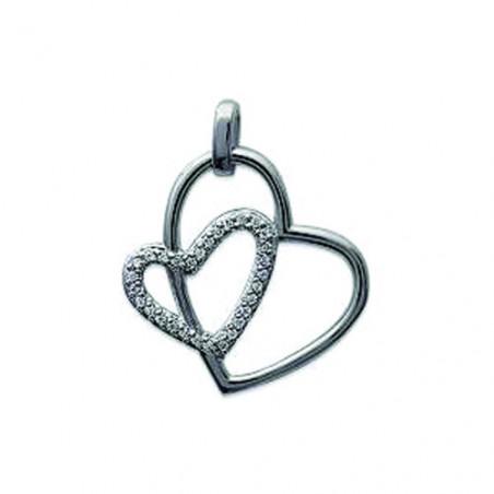 Pendentif double coeur en argent et zirconium