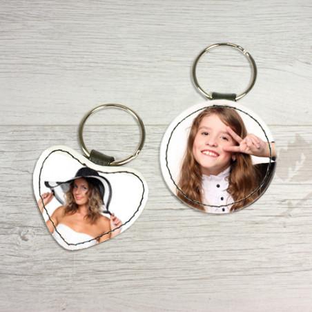 Porte clé photo tout simili cuir rond, coeur ou rectangle