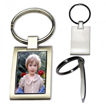 Porte clés photo en métal mat