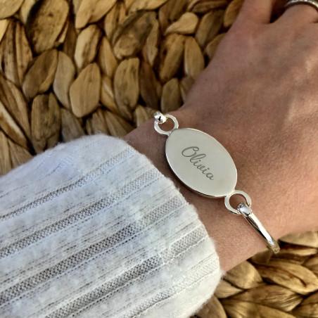 Gravure texte : bracelet rigide argent