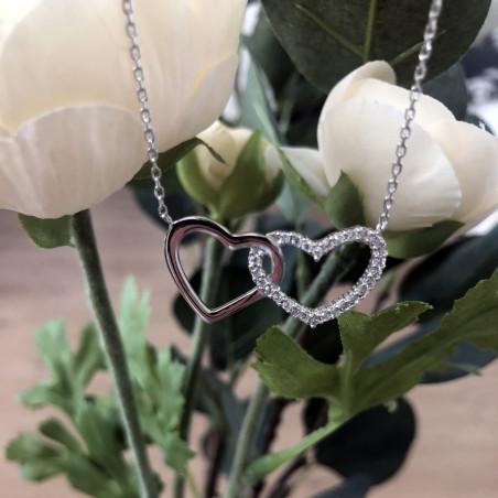 Pendentif photo collier double coeur argent et zirconium