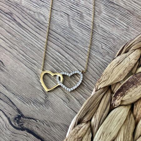 BIjoux pendentif double coeur plaqué or et zirconium