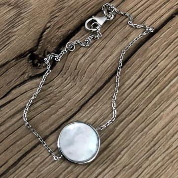 Bracelet rond nacré argent