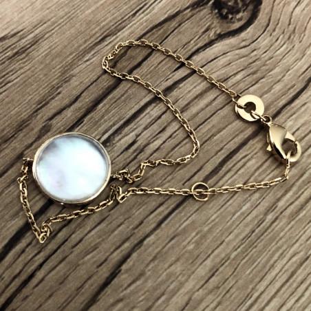 Bracelet rond nacré plaqué or