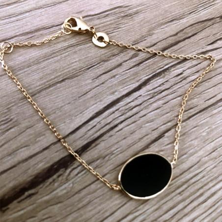 Bracelet ovale noir plaqué or