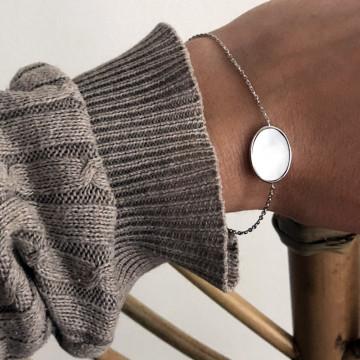 Bracelet ovale nacré argent