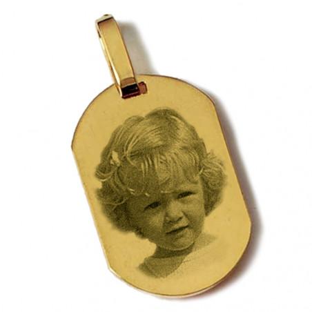 """Gravure photo sur pendentif """"Petit rectangle arrondi"""" plaqué or"""