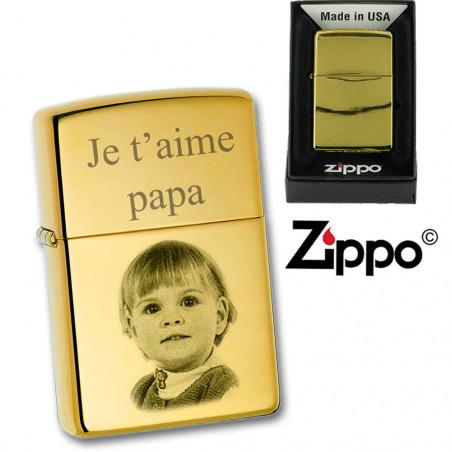 Zippo personnalisé photo chromé ou doré