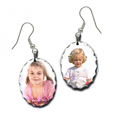 Boucles d'oreilles photo ovale