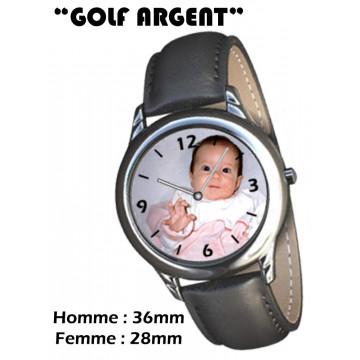 """Photo sur montre """"GOLF ARGENT"""""""