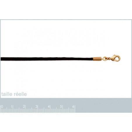 Collier cordon noir lisse plaqué or