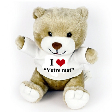 """Peluche personnalisée ourson Fred """"I love"""""""