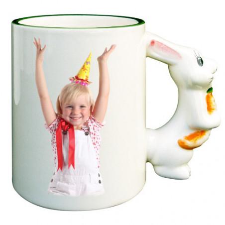 Photo sur tasse : mug personnalisé avec anse lapin