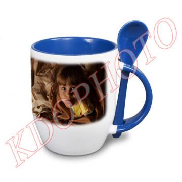 Photo sur tasse bleue avec...