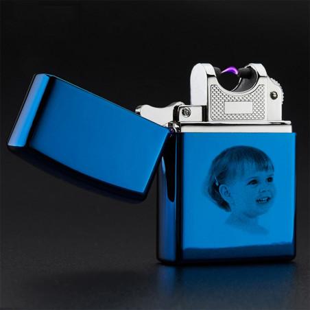Gravure photo sur briquet USB bleu