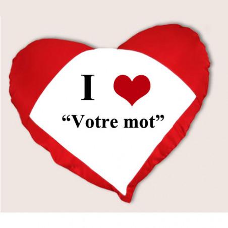 """Photo sur coussin coeur rouge """" I love"""""""