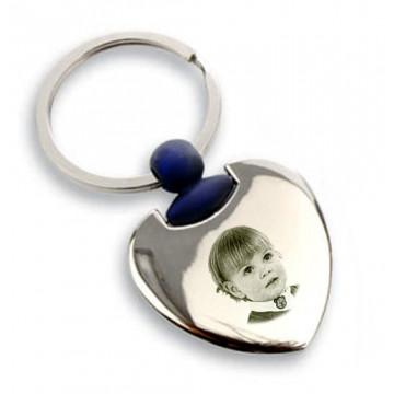 Porte clé coeur bleu gravé