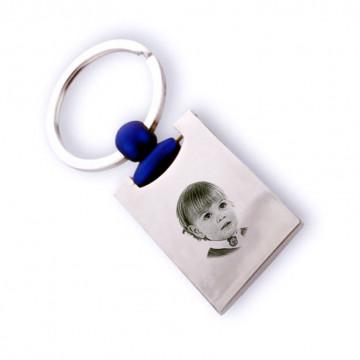 Porte clé rectangle bleu gravé