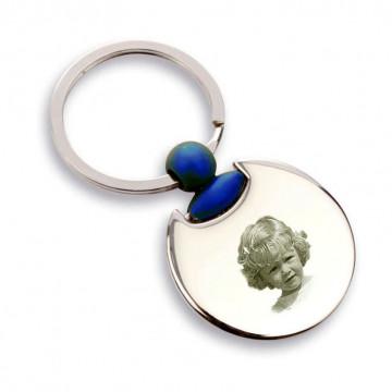 Porte clé rond bleu gravé
