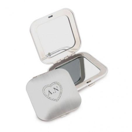 Gravure initiales sur miroir de poche carré