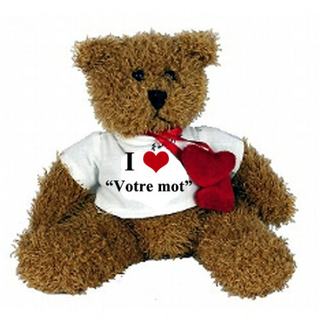 """Peluche personnalisée ourson Hardy """"I love"""""""