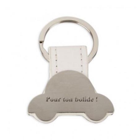 """Porte clé gravé personnalisé avec texte """"VOITURE"""""""