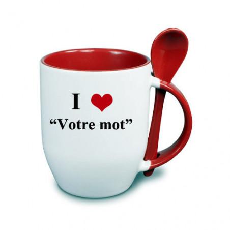 """Photo sur tasse rouge avec cuillère """"I love"""""""