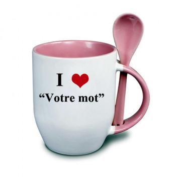 Photo sur tasse rose avec...