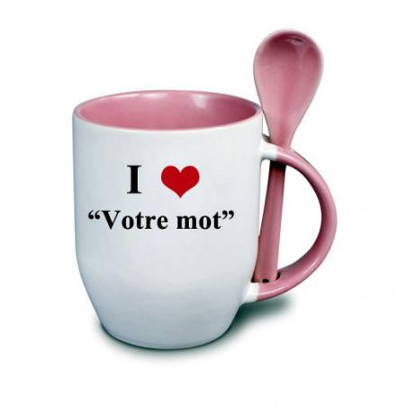 """Photo sur tasse rose avec cuillère """"I love"""""""
