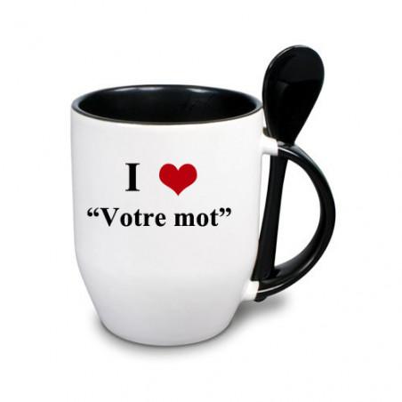 """Photo sur tasse noire avec cuillère """"I love"""""""