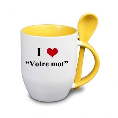 """Photo sur tasse jaune avec cuillère """"I love"""""""
