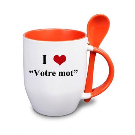 """Photo sur tasse orange avec cuillère """"I love"""""""