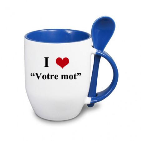 """Photo sur tasse bleue avec cuillère """"I love"""""""