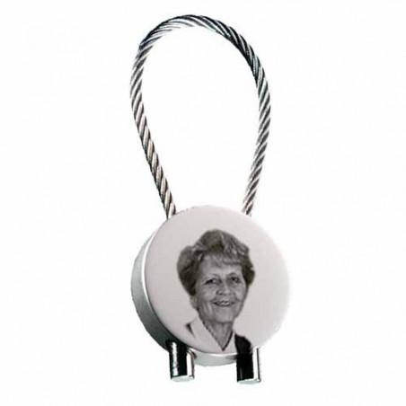 """Gravure photo sur porte clés métal forme """"ROND"""" avec câble 1 visage"""