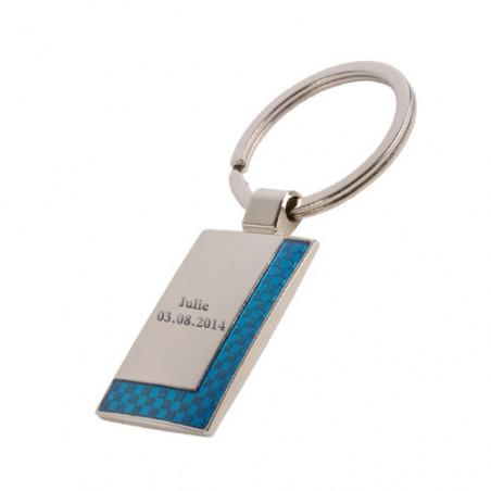"""Porte clé gravé personnalisé avec texte """"Rectangle"""" avec bordure bleu"""