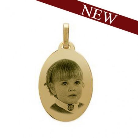 """Gravure photo sur pendentif """"Grand Ovale"""" plaqué or"""