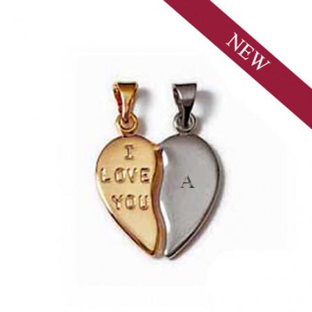 """Gravure initiale sur pendentif """"COEUR"""" plaqué or / argent à partager"""