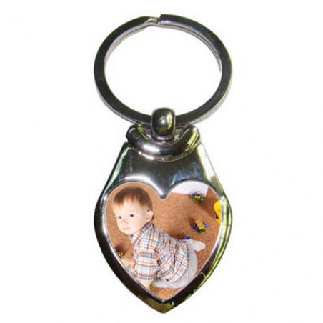 Porte clé photo forme coeur
