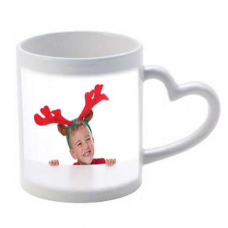 Photo sur tasse avec anse coeur