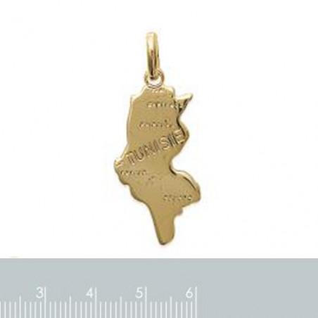 "Gravure sur pendentif ""Tunisie"" en plaqué or"