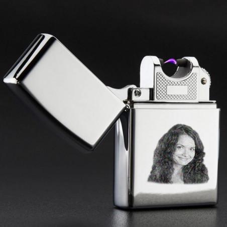 Briquet personnalisé photo gravé USB rechargeable