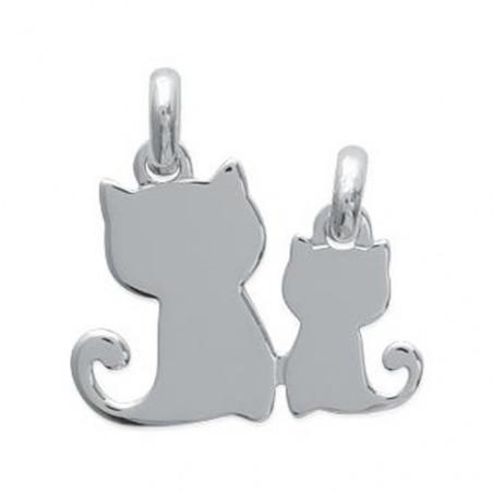 """Pendentif photo argent """"chats à se partager"""""""