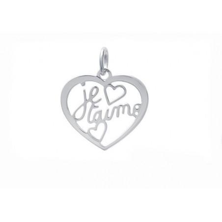 """Pendentif coeur """"Je t'aime"""" argent"""
