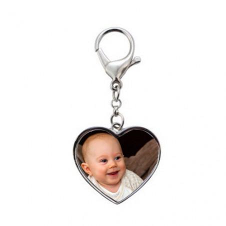 Porte clé personnalisé photo coeur recto-verso
