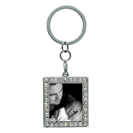 Porte clé photo carré strass