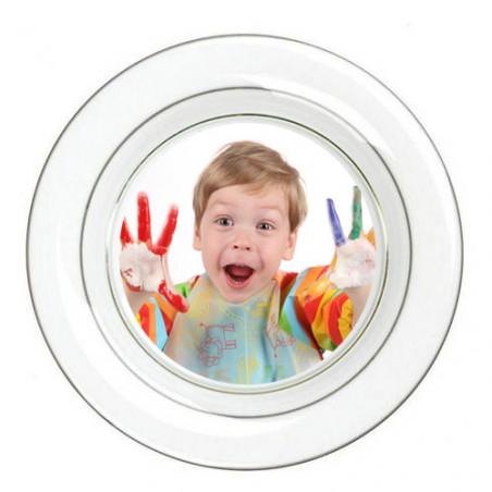 """Photo sur assiette en fine porcelaine """"grise"""""""