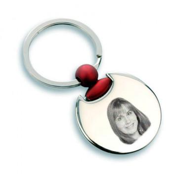 Porte clé rond rouge gravé