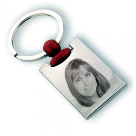 Gravure photo sur porte clé rectangle rouge